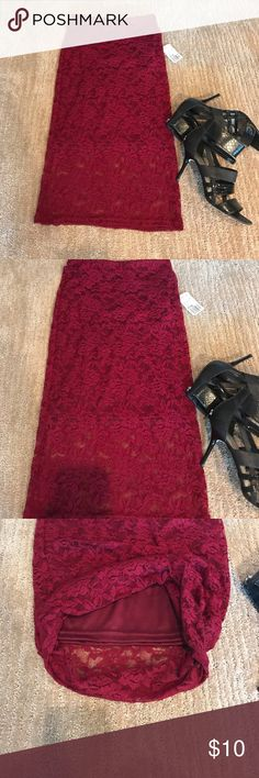 NWT!! Knee Length Burgundy Lace Skirt NWT!!! Forever 21 size small, knee-length burgundy lace skirt Forever 21 Skirts Midi