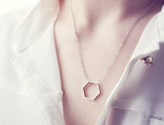 hexagon necklace -  geometric jewelry - delicate minimalist. $13.50, via Etsy.