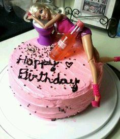 Drunk Barbie cake- this definitely should have been my birthday cake Birthday Cake For Women Simple, Barbie Birthday Cake, Funny Birthday Cakes, Funny Cake, 26th Birthday, Drunk Barbie Cake, Barbie Funny, Barbie Torte, 21st Cake