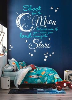 Shoot For the Moon, Land Among the Stars Quote Decal - Custom Vinyl Art Stickers for Homes, Nurseries, Schools, Offices, Interior Designers