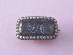 Georgian 9ct Gold Seed Pearl Hair Mourning Bonnet Brooch Pin 1820 | eBay, $160.41