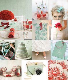 teal and red vintage wedding