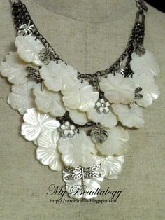 Mother of Pearl Flower Pendants with black chain