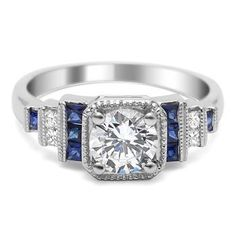 Diamond and sapphire engagement ring with vintage stairstep design from Timeless Designs Legacy Collection.