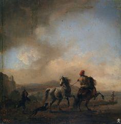 Philips Wouwerman - Paard bang voor een hond