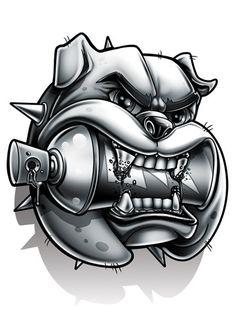 Black and Grey Bull Dog Temporary Tattoo