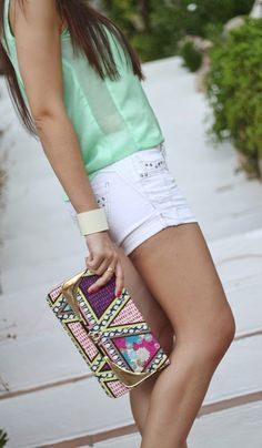 Sophisticated Mint ( Shirts & Blouses & Studded Denim Shorts ) with