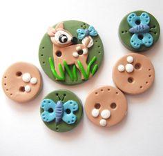 Button Bambi Fawn handmade polymer clay button set ( 6 )