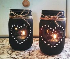 Saw it and had to make them! Use flat black paint, LED candle. Saw it and had to make them! Use flat black paint, LED candles. Mason Jar Art, Mason Jar Gifts, Mason Jar Candles, Mason Jar Lighting, Painted Mason Jars, Diy Candles, Black Candles, Mason Jar Projects, Wine Bottle Crafts