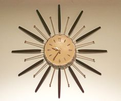 STARBURST CLOCK, Mid Century style, Mad Men era