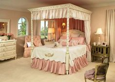 pink and white bed set with puppy - Niedliche Noble Schlafzimmerideen
