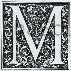 French letter M 600 DPI image scan from a 1920's French encyclopedia. (collage sheet) for crafts. $1