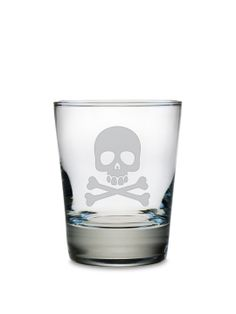 Skull & Crossbones Double Old Fashioned Glasses (Set of 4) by Susquehanna Glass Co. at Gilt