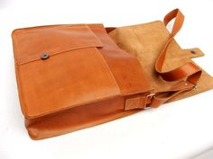 Leather Messenger bag satchel bag laptop bag leather by abizema