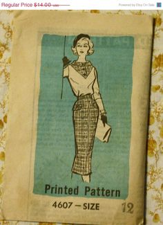 25%SewIntoSummerSale Mail Order 4607 1950s 50s Dress Sewing Pattern Size 12 Bust 32