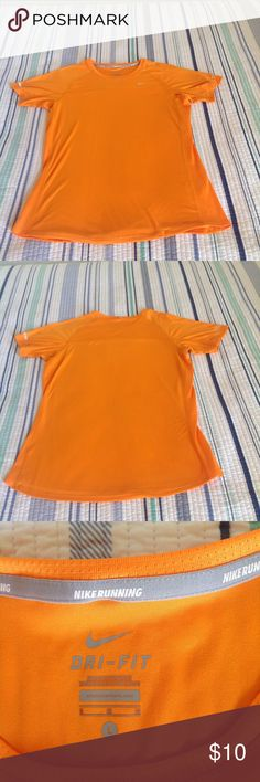 "Nike Dri-Fit running/workout top, size L, EUC Nike Dri-Fit running/workout top, bright orange, 100% polyester, mesh fabric on sides, size large, pit to pit 18"". Great condition. Nike Tops Tees - Short Sleeve"
