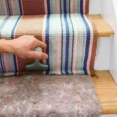 By Joseph Truini of This Old House Magazine Posted by Action Plus Home Inspections Use a stock runner (or two) to add a splash of color and cushiony comfort to bare wood stairs If you have plain ol… Hallway Carpet Runners, Carpet Stairs, Stair Runners, Stair Carpet Runner, Wood Stairs, Basement Stairs, Staircase Runner, Staircase Makeover, Stair Redo