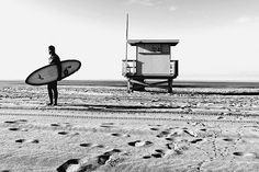 Lone Surfer on the beach in Santa Monica, California, Lifeguard Station, Beach, Sand, Surf, Morning, Black, White