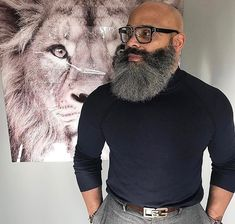 Beardelicious : Photo Black Men Beards, Long Beards, Bald Black Man, Bald With Beard, Bald Men, Beard Game, Epic Beard, Growing Facial Hair, Grey Hair Care