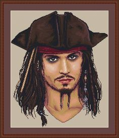 Pirates of the Caribbean Johnny Depp Counted Cross Stitch Pattern in PDF for Instant Download