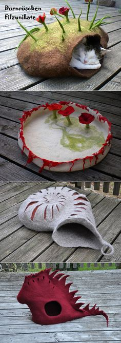 use old sweaters to make felted cat beds? You can pick them up at Goodwill and the like.........genius!!!!!!!