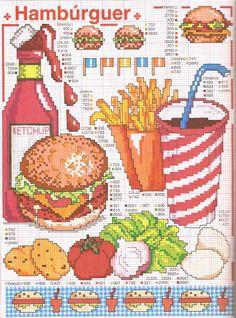 Gráfico+ponto+cruz+hamburguer,+batata+frita,+legumes,+verdura.jpg (1184×1600)