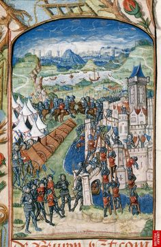 Attack on St James in Normandy c. 1487, MS. Royal 20 E vi, f. 20