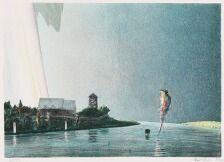 1705/621 - Poul Anker Bech: Komposition. Sign. Poul Anker Bech, 28/250. Litografi i farver. Lysmål 43 x 60.