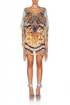 Camilla Franks Silk Swarovski Arms OF Contess Short Round Neck Kaftan | eBay