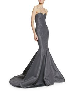 Monique Lhuillier One-Shoulder Draped Tulle Gown, Slate