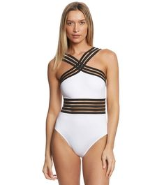 0bf73c8238b4f Kenneth Cole Stompin' In My Stilettos High Neck One Piece Swimsuit at  SwimOutlet.com - Free Shipping