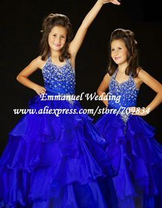 Brilliant Crystal Beaded Ruffle Royal Blue Ball Gown Pageant Dresses for Girls Halter 2013 LG189 $127.55