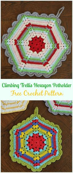 Vintage Crochet Climbing Trellis Hexagon PotholderFree Pattern- #Crochet; # Potholder Hotpad Free Patterns