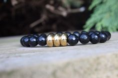 Men's Faceted Blackstone & 3 Stainless Steel/Gold by BeauBishop, $29.00