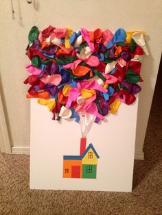 My daughters 100 days of school project. There are exactly 100 balloons! She loved counting them out as I glued them on.