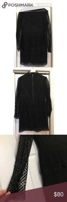 Long Sleeved Ruffle Dress Black long sleeves dot ruffle dress with details on arms. No sign of use Aqua Dresses Mini