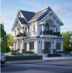 Mẫu biệt thự 2 tầng hiện đại đẹp 2 Storey House Design, Duplex House Design, House Front Design, House Elevation, Facade House, Home Design Plans, Miniature Houses, Classic House, Big Houses