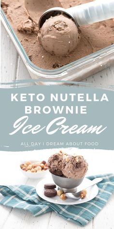 Sugar free homemade Nutella in a rich keto ice cream, with brownie chunks! A delicious low carb summer dessert. Summer Dessert Recipes, Keto Dessert Easy, Healthy Dessert Recipes, Breakfast Recipes, Hazelnut Ice Cream, Chocolate Hazelnut, Chocolate Lovers, Keto Ice Cream, Ice Cream Flavors