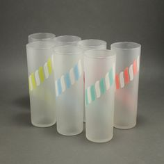 Libbey Candy Stick Cabana Striped Highball 7 Glasses Zombie Tumblers  Vtg