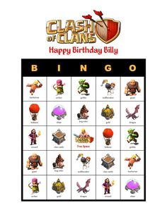 Clash of Clans Personalized Birthday Party Bingo Game Delivered by Email