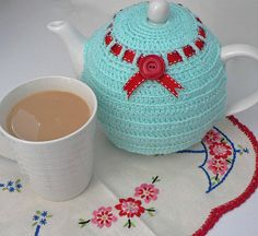 Crocheted Aqua Tea Cozy with Red Ribbon & Vintage Red Button