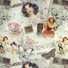 Vintage Ladies - Decoratiestoffen retro - Decoratiestoffen met motief