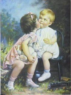 Little Girl Kissing Little Boy, Mabel Rollins Harris