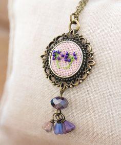 Braille necklace - LOVE - embroidered dandelion, floral, Victorian vintage style n034