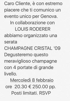 Serata champagne CRISTAL presso Ristorante San Giorgio Genova Per info 0105955205