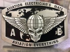 Aviation Electrician's Mate Custom Belt Buckle (Silver)