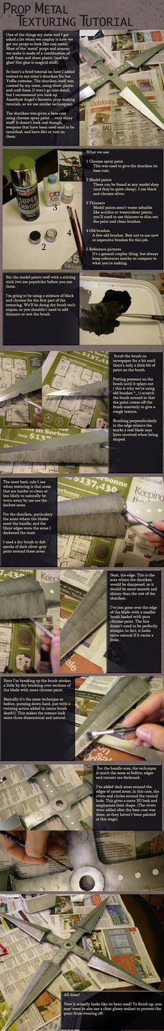 Cosplay Prop Metal Texture Tutorial by ~Risachantag on deviantART // Could be useful for styling other various DIY projects as well as for cosplayers