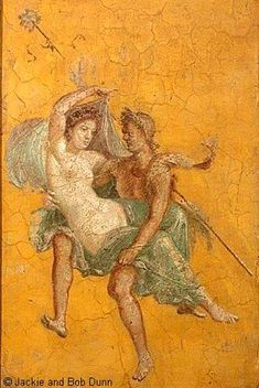 The abduction of Proserpina by Pluto, god of the underworld. From the House of Zephyr and Flora (Casa di Zefiro e Flora o Casa del Naviglio)  #Pompeii