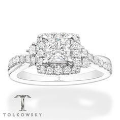 This exquisite Tolkowsky® engagement ring showcases a Princess Ideal Cut Diamond amidst a gorgeous display of brilliant round diamonds. The ring is crafted of white gold and has a total diamond weight of 1 carats. Ideal Cut Diamond, Diamond Cuts, Gemstone Jewelry, Diamond Jewelry, Fashion Rings, Fashion Jewelry, Diamond Stone, White Gold Rings, Ring Designs