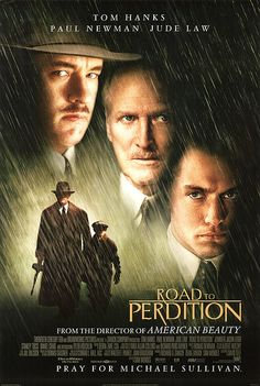 'The Road to Perdition', 2002 - Directed by Sam Mendes ( American Beauty) and starring Tom Hanks, Jude Law & Paul Newman. An American Film classic. Jude Law, Film Movie, See Movie, Cinema Movies, All Movies, Great Movies, Movies To Watch, Paul Newman, Tom Hanks Filme